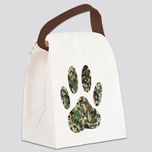 Distressed Camo Dog Paw Print Canvas Lunch Bag