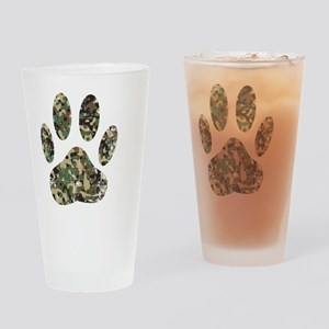 Distressed Camo Dog Paw Print Drinking Glass