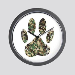 Distressed Camo Dog Paw Print Wall Clock