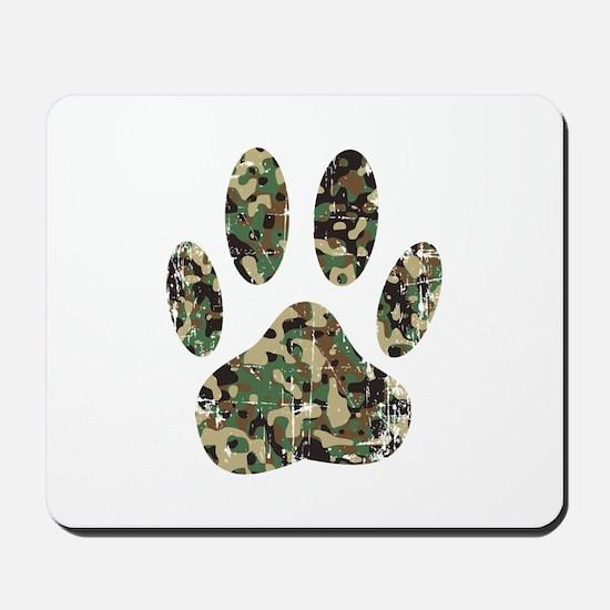 Distressed Camo Dog Paw Print Mousepad