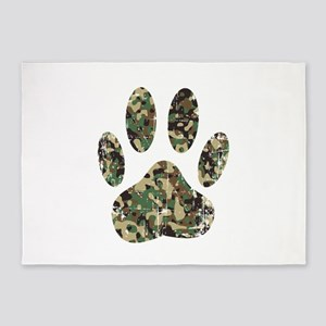 Distressed Camo Dog Paw Print 5'x7'Area Rug