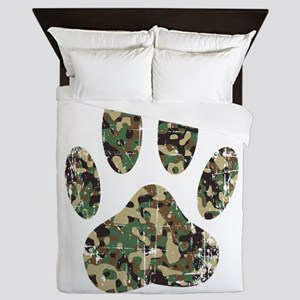 Distressed Camo Dog Paw Print Queen Duvet