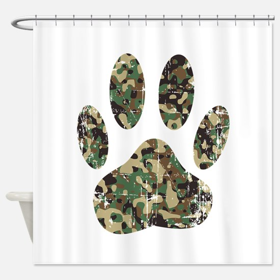 Distressed Camo Dog Paw Print Shower Curtain