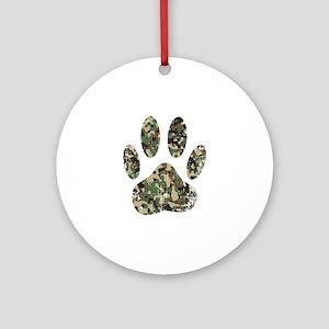 Distressed Camo Dog Paw Print Round Ornament
