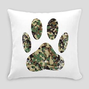 Distressed Camo Dog Paw Print Everyday Pillow
