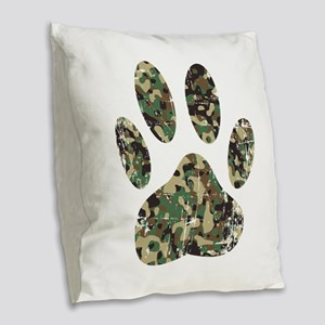 Distressed Camo Dog Paw Print Burlap Throw Pillow