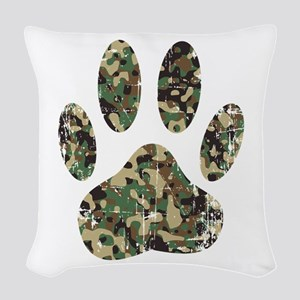 Distressed Camo Dog Paw Print Woven Throw Pillow