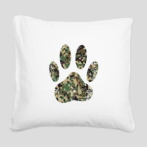 Distressed Camo Dog Paw Print Square Canvas Pillow