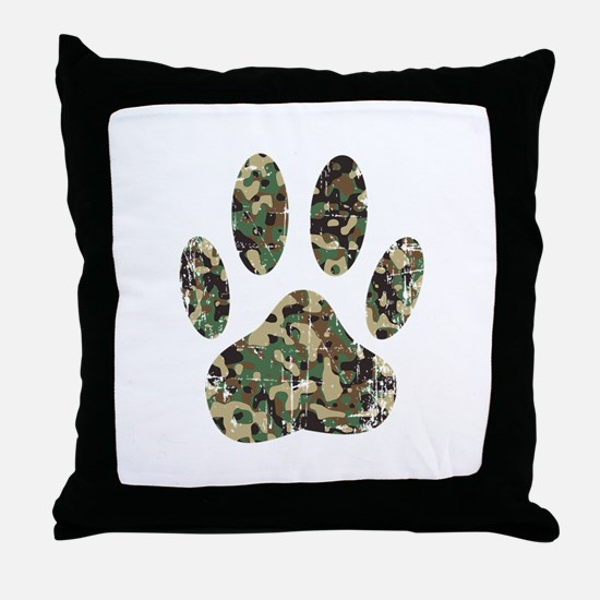 Distressed Camo Dog Paw Print Throw Pillow