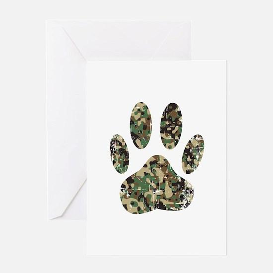 Distressed Camo Dog Paw Print Greeting Cards