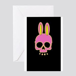 Easter Bunny Skull on Black Greeting Cards