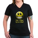 Get Your Grin On Women's V-Neck Dark T-Shirt