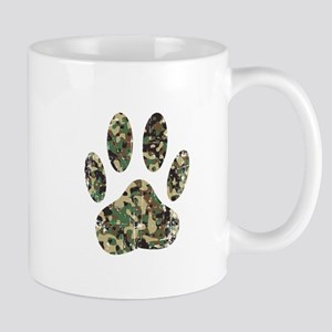 Distressed Camo Dog Paw Print Mugs