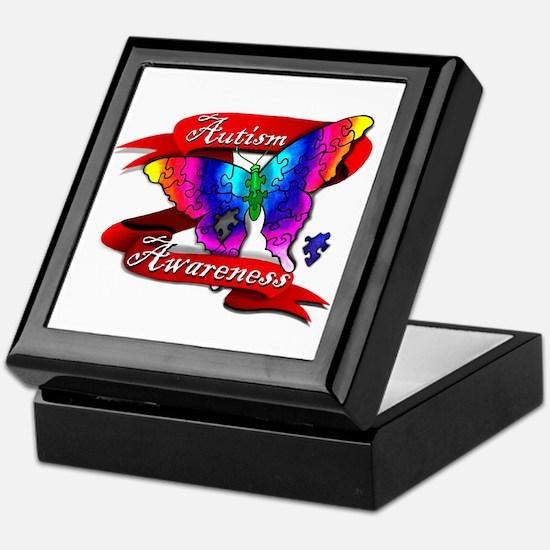 Autism Awareness Butterfly Design Keepsake Box