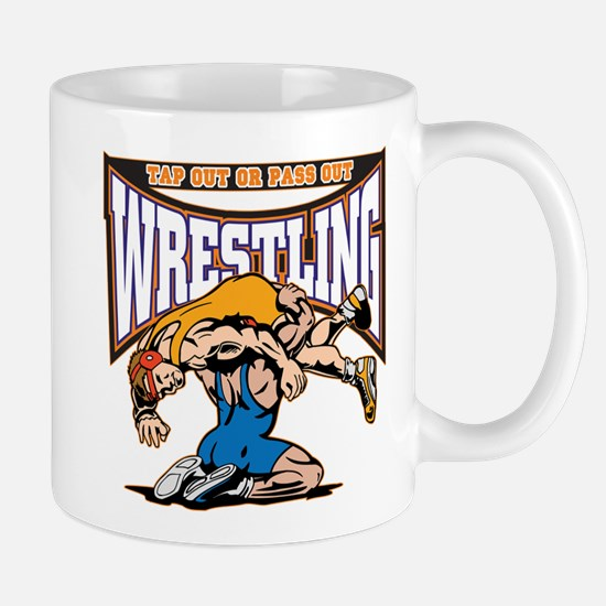 Tap Out or Pass Out Wrestling Mug