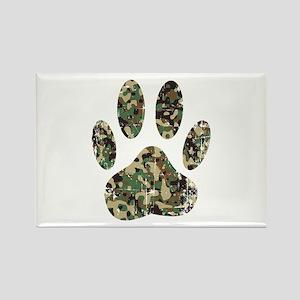 Distressed Camo Dog Paw Print Magnets