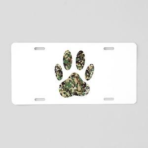 Distressed Camo Dog Paw Pri Aluminum License Plate
