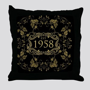 1958 Birth Year Throw Pillow