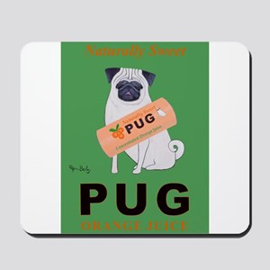 Pug Orange Juice Mousepad