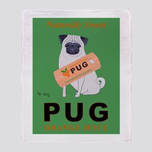Pug Orange Juice Throw Blanket