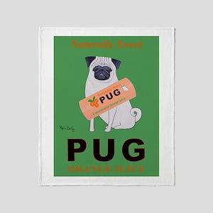 Pug Orange Juice Throw Blanket