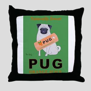 Pug Orange Juice Throw Pillow