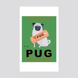 Pug Orange Juice Sticker (Rectangle 10 pk)