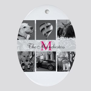 Your Photos and Monogram Oval Ornament