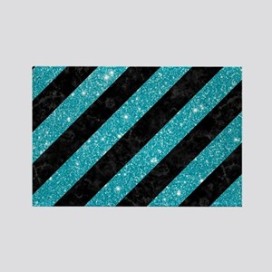 STRIPES3 BLACK MARBLE & TURQUOISE Rectangle Magnet
