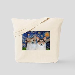 Starry Night / Corgi pair Tote Bag