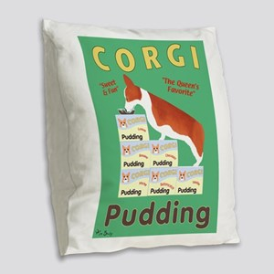 Corgi Pudding Burlap Throw Pillow
