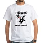 Stressed Cat White T-Shirt