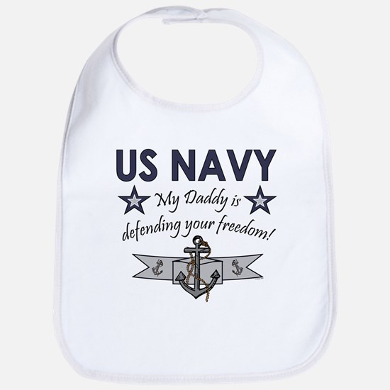NAVY Daddy defending freedom Bib