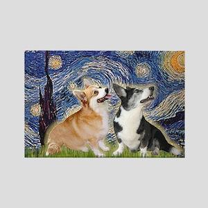 Starry Night / Corgi pair Rectangle Magnet