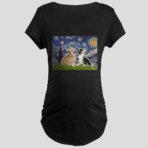 Starry Night / Corgi pair Maternity Dark T-Shirt