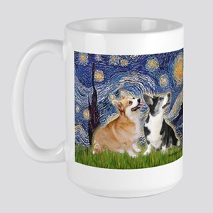 Starry Night / Corgi pair Large Mug