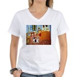 Room / Corgi pair Women's V-Neck T-Shirt