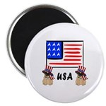 Patriotic USA Pug Dogs Magnet