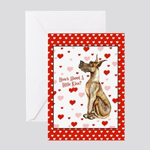 Great Dane Brindle Kiss Greeting Card