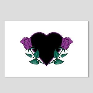 Black Heart & Purple Roses Design Postcards (Packa