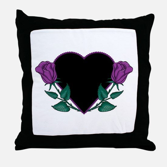 Black Heart & Purple Roses Design Throw Pillow