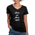 Love At First Sight Women's V-Neck Dark T-Shirt