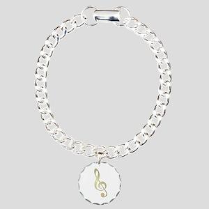 Gold Treble Clef Charm Bracelet, One Charm
