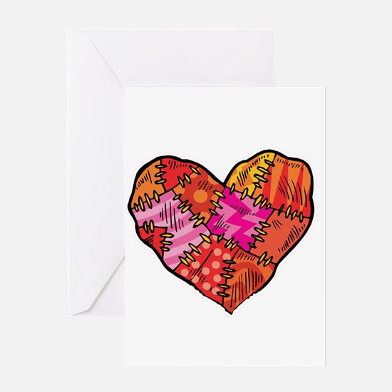 Patchwork Heart Design Greeting Card