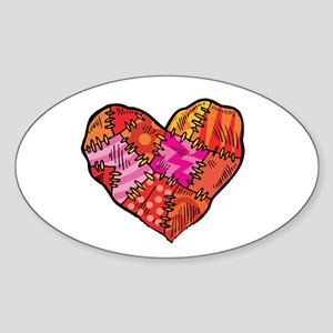Patchwork Heart Design Oval Sticker