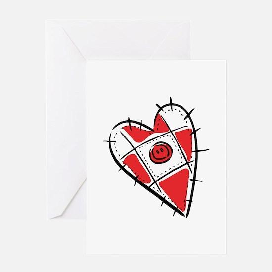 Cute Pin Cushion Patchwork Heart Design Greeting C