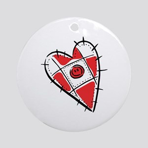 Cute Pin Cushion Patchwork Heart Design Ornament (