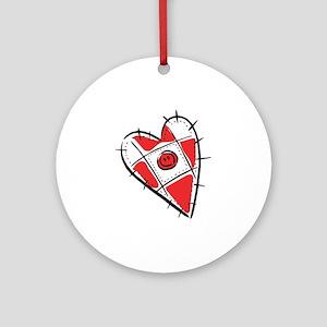 Cute Pin Cushion Patchwork Heart Design Ornament (