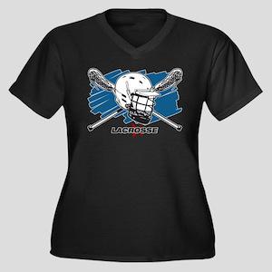 Lacrosse Att Women's Plus Size V-Neck Dark T-Shirt