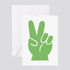 Green Hand of Peace Greeting Card